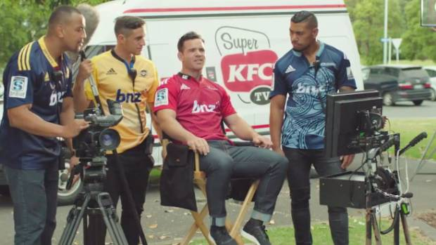 SUPER SIZED: A scene from the KFC Super Bucket or Super Team Bucket advert featuring Nasi Manu, TJ Perenara, Ryan Crotty ...