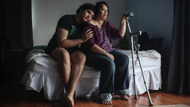 Determined to be heard: Mother of two Moana Papa, pictured with her son, Devlyn Papa, 19, has stage 4 cancer.