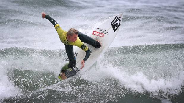 New Plymouth surfer Daniel Farr in action during the GromSearch quarter finals at Fitzroy Beach on Sunday.  Farr placed ...