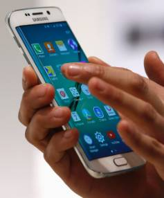 The new Samsung Galaxy S6 Edge smartphone on display at the Mobile World Congress in Barcelona.