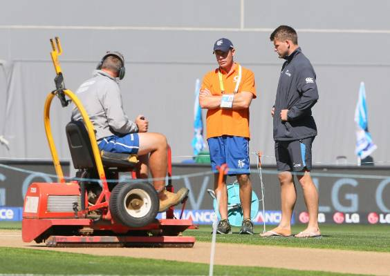 Black Caps all-rounder Corey Anderson inspects the Eden Park pitch ahead of the toss.