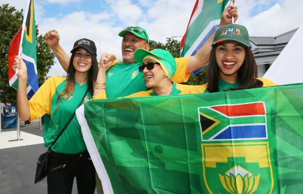 The Jacobs family of Lailaa, Ashraf, Nadia and Tasheem arrive at Eden Park to support the Proteas.