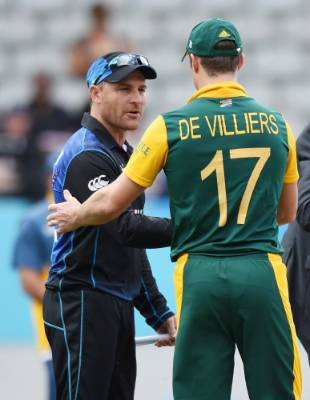 Black Caps captain Brendon McCullum and South Africa skipper AB de Villiers at the toss.