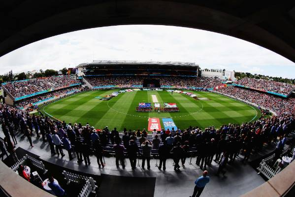 New Zealand and South Africa line up for the national anthems at Eden Park.