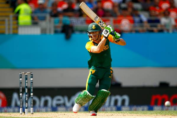 Faf du Plessis plays an off-drive during his innings.