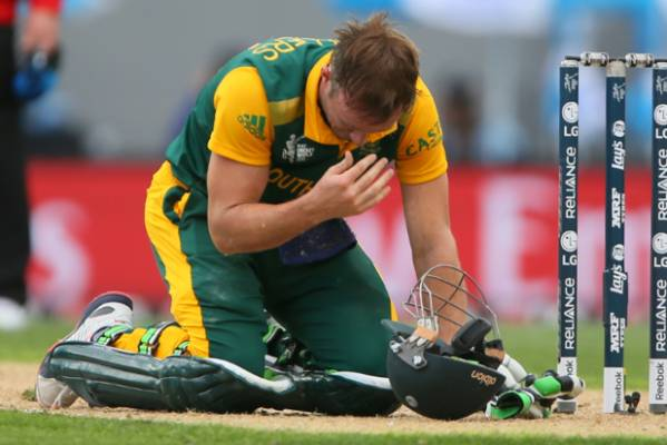 AB de Villiers checks his face after diving back to his crease in a near run-out.