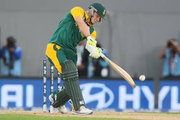 David Miller at the crease for South Africa just before being caught.
