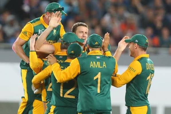South African players celebrate taking the wicket of Kane Williamson.