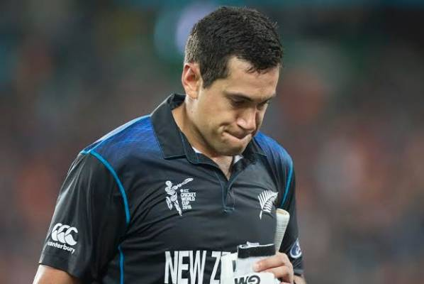 Ross Taylor walks off after adding 30 runs to the Black Caps' cause.