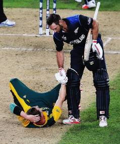 Grant Elliott helps Dale Steyn up after hitting the winning runs. 'I think you have to feel compassion and be humble in ...