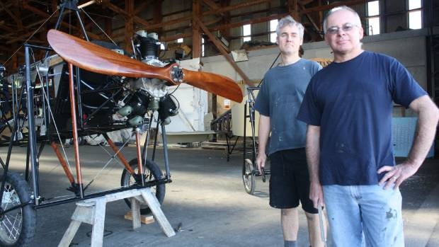 Omaka Classic Fighters Air Show display director Dave Lochead, right, and volunteer Matthew Muir with a ...