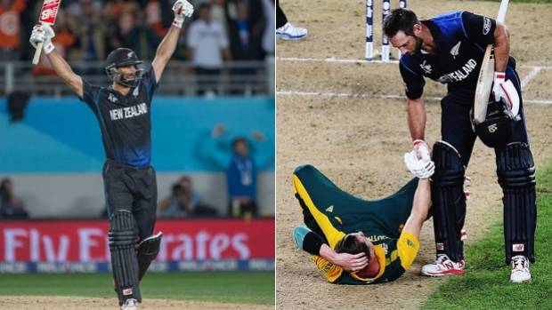 CLASS: Grant Elliott shows compassion to South Africa bowler Dale Steyn moments after leading the Black Caps into the ...