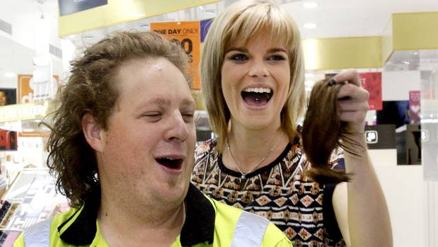 Rodney Wayne hairdresser Bonnie Wapp takes reveals Shannan Stafford-Hyde's ponytail as he gets a cut to raise money for ...