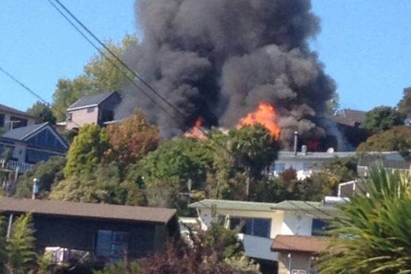 Smoke was seen around Nelson from a large house fire in Stoke.