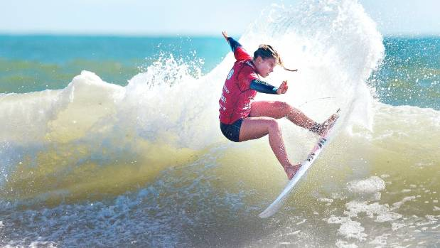 Paige Hareb rides the waves at the Port Taranaki Pro competition.