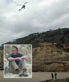 Searchers conduct an aerial hunt for missing Dutch tourist Ken Booger (inset).
