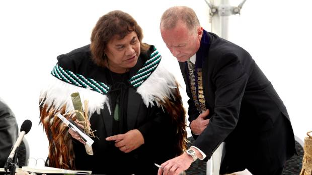 "Ngaruahine's lead negotiator Daisy Noble at last August""s treaty settlement signing in South Taranaki."