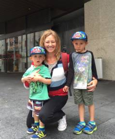 Mandy Sherring with children Sam, 3, and Jed, 5, outside Auckland's Central City Library.
