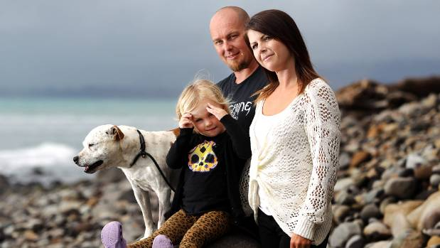 Waitara man Marc Glover, partner Alicia James and their 3-year-old daughter Saphire-Rose, are over the moon that their ...