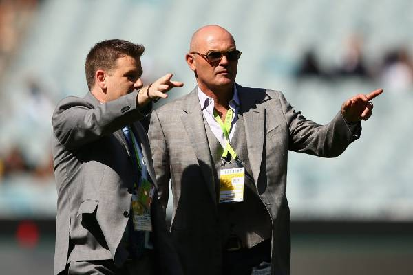 Iconic former New Zealand cricketer Martin Crowe inspects the pitch prior to the World Cup final between Australia and ...