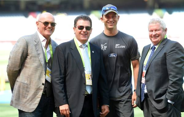 Martin Crowe, Mark Taylor, Shane Bond and Ian Smith at the MCG in Melbourne ahead of the Cricket World Cup final.