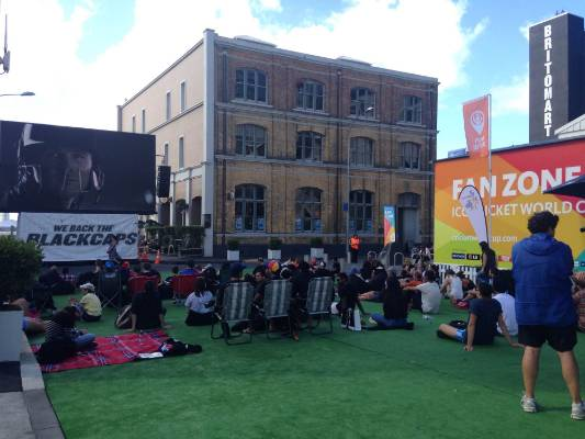 Diehard fans are already trickling in to Auckland's fanzone downtown in Britomart, about an hour before the match is due ...