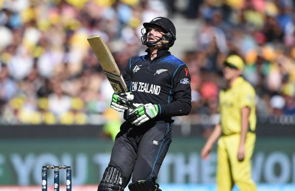 Martin Guptill gets a hold of one during the Cricket World Cup final against Australia at the MCG in Melbourne.