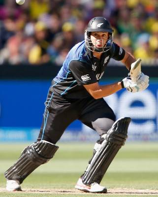 Ross Taylor of New Zealand bats during the World Cup final against Australia at the MCG.