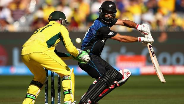 New Zealand's World Cup star Grant Elliott on his way to 83 in Sunday's World Cup final.
