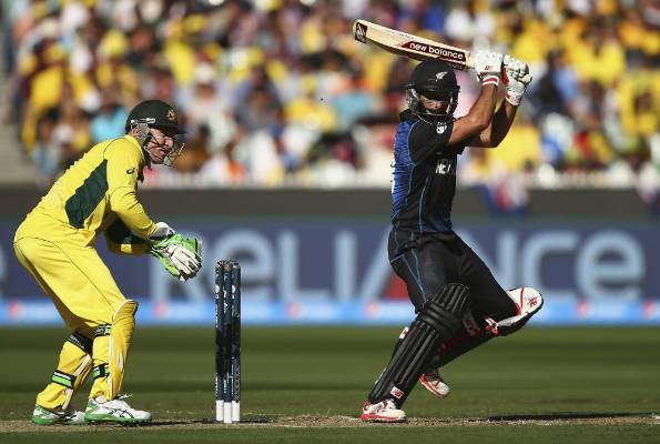 New Zealand's Grant Elliott gets one away against Australia in the Cricket World Cup final at the MCG.