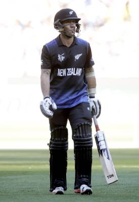 New Zealand's Luke Ronchi reacts as he walks off the field after being dismissed for a duck during the Cricket World Cup ...