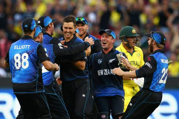 The Black Caps celebrate after Trent Boult dismisses Aaron Finch in the Cricket World Cup final.