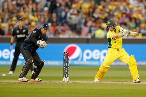 Australian No 3 Steve Smith in action against the Black Caps in the Cricket World Cup final at the MCG in Melbourne.