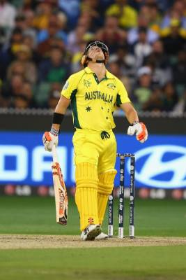 Australian opener David Warner reacts during his side's run-chase in the Cricket World Cup final against the Black Caps.