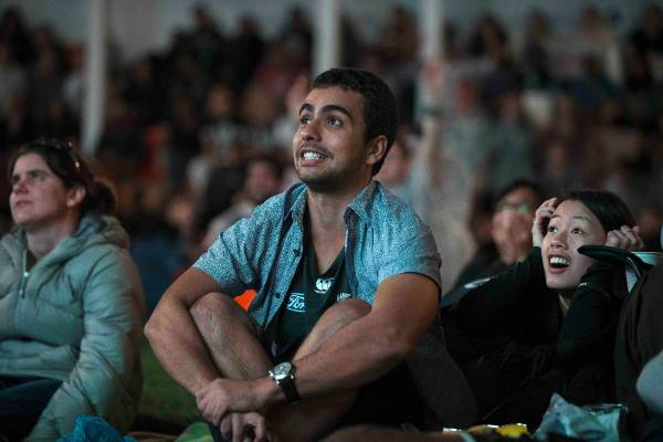 Kiwi fans gather in Britomart, Auckland to cheer the Black Caps on against Australia during the final of the Cricket ...