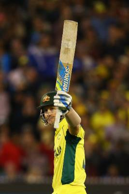 Aussie skipper Michael Clarke celebrates after scoring a half century during his side's successful run-chase against the ...