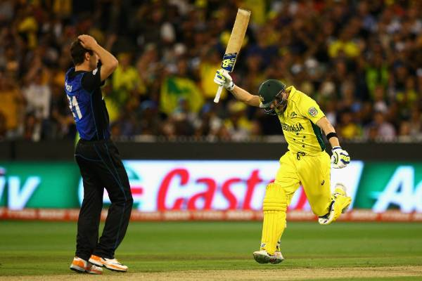Steve Smith of Australia celebrates hitting the winning runs in the Cricket World Cup final against the Black Caps at ...