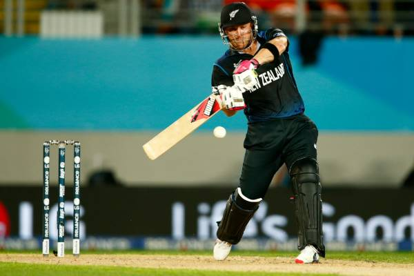Brendon McCullum bats during the 2015 Cricket World Cup Semi Final match between the Black Caps and South Africa at Eden ...