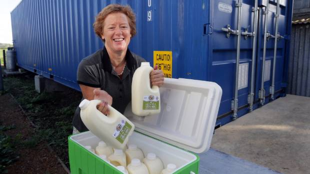Mary Vosper is producing organic milk from a mini-factory inside a shipping container on her family's Matamata farm.
