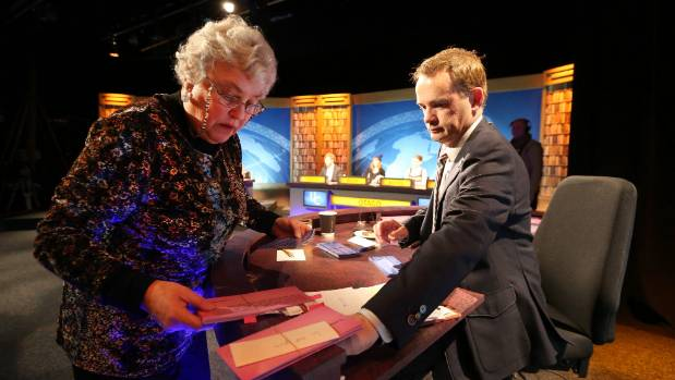 Cue TV University Challenge filming on August 2 2014 at Centrestage Theatre. Lorraine Isaacs, left, checking through the ...