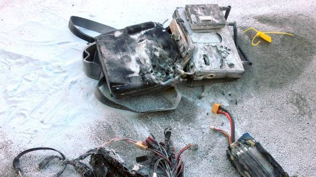 The aftermath of the fire caused when these lithium batteries were being charged.
