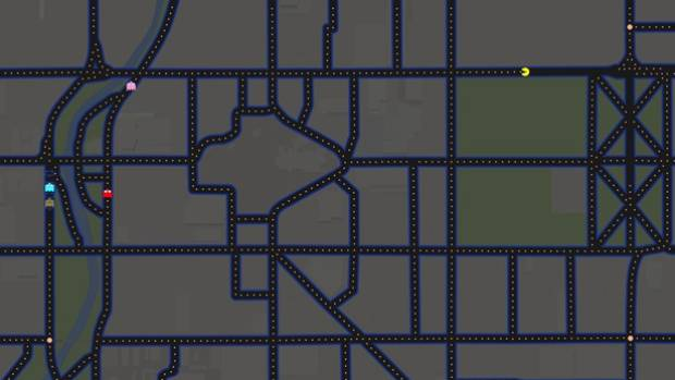 Christchurch's Cathedral Square makes a great Pac-Man map.
