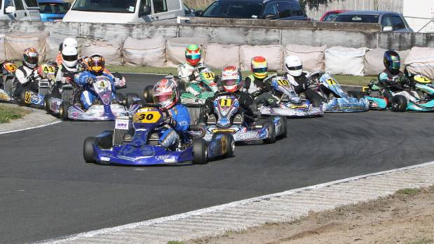Dylan Drysdale, in front, will be one of the young guns to watch on the karting circuit.