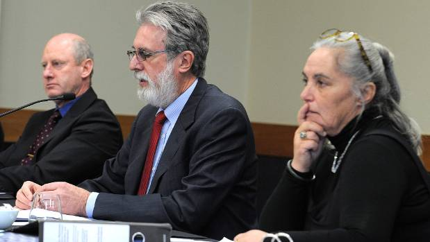 Commissioners  from left, Rob Potts, Denis Nugent and Yvette Couch-Lewis at the sewerage hearings in Te Anau.