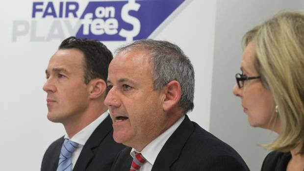Lawyer Andrew Hooker (centre) launches the Fair Play on Fees case in March 2013