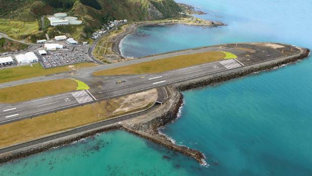 This manipulated image shows what an extended runway at Wellington Airport might look like.
