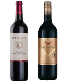 Babich Irongate Cabernet Merlot Franc 2013 and Villa Maria Cellar Selection Organic Merlot 2013.