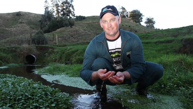 Waikato Federated Farmers president Chris Lewis on his farm showing how waterways are beneficial.