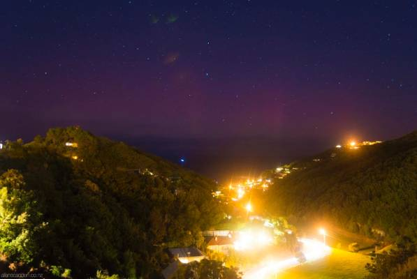 The lights seen from Wellington's Houghton Bay about 10.30pm on Saturday.