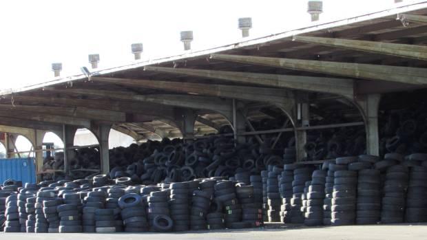 Old car tyres stockpiled at a Frankton property in Hamilton.